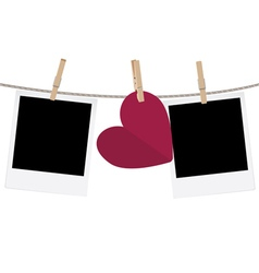 Heart with film frame on rope4 vector