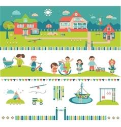 Kids Kindergarten Preschool Buildings and Yard vector image vector image