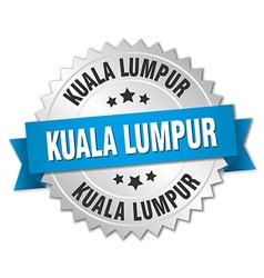Kuala lumpur round silver badge with blue ribbon vector