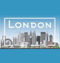 London skyline with gray buildings and white frame vector
