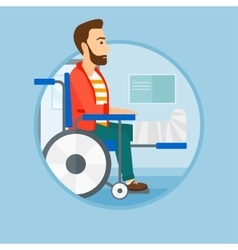Man with broken leg sitting in wheelchair vector