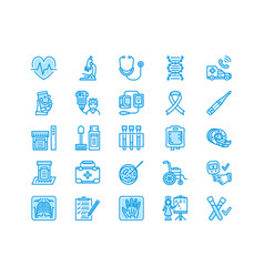 Medical check up flat line icons health vector