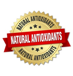 Natural antioxidants 3d gold badge with red ribbon vector