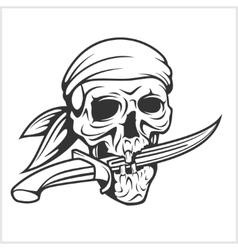 Pirate skull in headband with sword vector