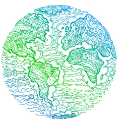 Planet earth green sketched doodle vector
