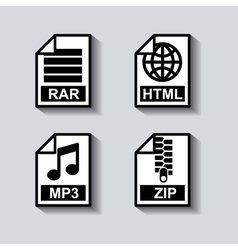Set documents format icon vector