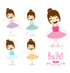 The ballet girl cute activity cartoon design vector
