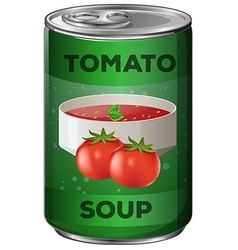 Tomato soup in aluminum can vector image