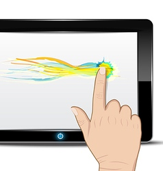 Tablet computer with hand drag on screen vector