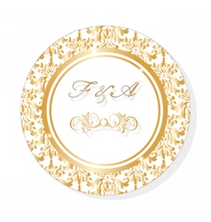 Classic golden round lace invitation vector