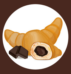 Croissant with chocolate icon vector