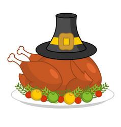 Roast turkey for thanksgiving and pilgrim hat vector