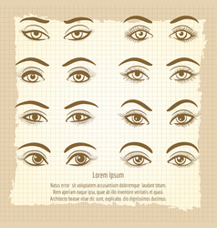 Female eyes vintage poster design vector