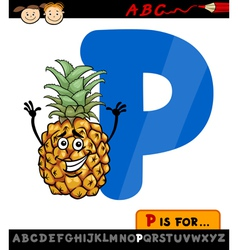 letter p with pineapple cartoon vector image