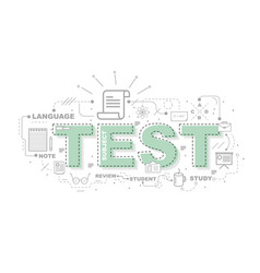 Design concept of word test website banner vector