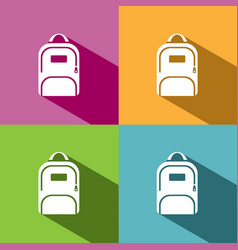 backpack icon with shadow on colored backgrounds vector image