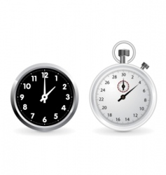 clock and stopwatch vector image