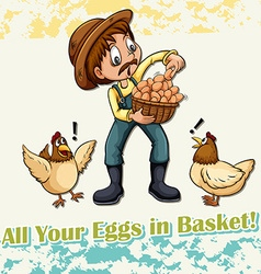 All your eggs in basket idiom vector