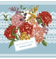 Vintage greeting card with blooming peonies vector