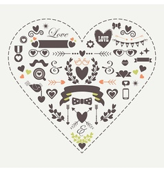 Hipster silhouette love and romantic icons set vector