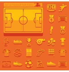 Set of football flat icons vector