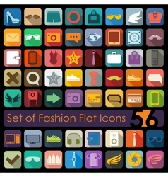 Set of fashion flat icons vector image