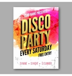 Disco party poster template night dance party vector