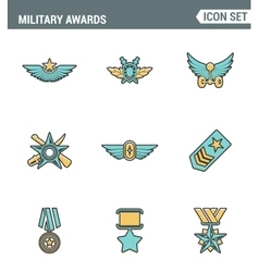 Icons line set premium quality military awards vector