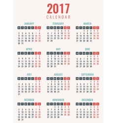 Calendar for 2017 week starts monday simple vector