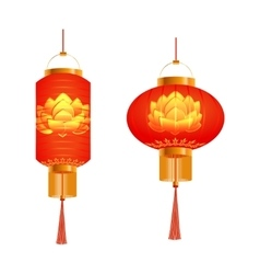 A set of orange Chinese Lanterns Lotus pattern vector image vector image