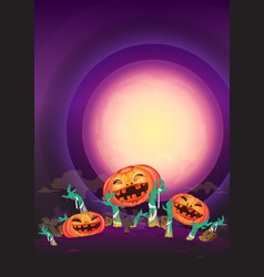 at night halloween pumpkin and zombies hands wave vector image vector image