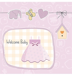 Baby girl shower card with dress vector