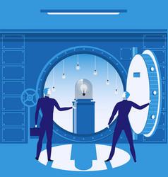 Bank vault concept vector