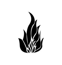 Black silhouette fire flame icon vector