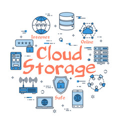 blue round cloud storage concept vector image