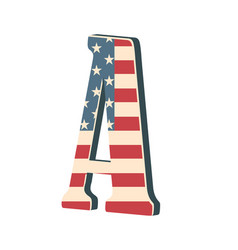 capital 3d letter a with american flag texture vector image vector image