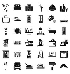 Cozy house icons set simple style vector