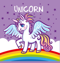 cute unicorn stars rainbow greeting card vector image vector image