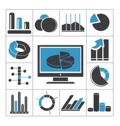 Diagrams icons vector image vector image