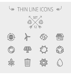 Ecology thin line icons vector image vector image