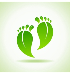 Foot made by green leaves vector image
