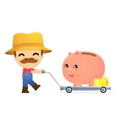 funny cartoon farmer vector image vector image