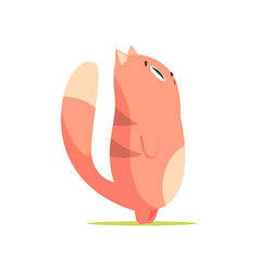 funny red cat standing up and looking up cute vector image vector image