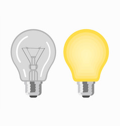 glowing and turned off light bulbs vector image