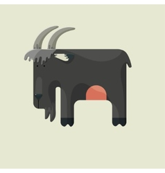 Gray goat with horns standing sideways vector image vector image