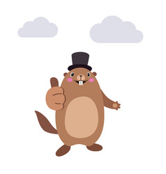 groundhog showing thumbs up gesture flat vector image