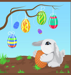 Little gray rabbit with the easter eggs hanging on vector