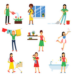 modern housewife in housework activity set vector image vector image