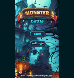 monster battle gui start playing field vector image vector image