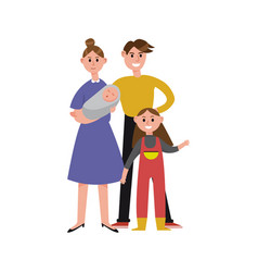 Parents with their two children cartoon characters vector